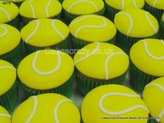 Serve a topspin with these tennis ball style cupcakes. Each covered in flourecent colour with the traditional markings http://www.cakescrazy.co.uk/details/tennis-ball-cupcakes-9878.html