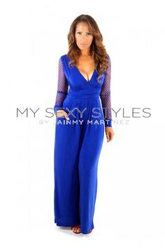5c7372250f3 Royal Blue Fishnet Long Sleeves V-Neck Cocktail Party Jumpsuit Romper Dress