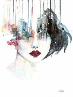 "Saatchi Art Artist Christina Leta Smith; Painting, ""Unfinished"" #art #watercolor #portrait #defectivebarbie"
