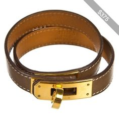 Pre-owned Hermes Etoupe Leather Double Tour Bracelet (Size M)