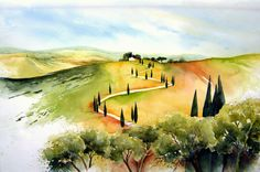 "Tuscany ""la Foce"" www. Watercolor Projects, Watercolor Landscape, Watercolour Tutorials, Watercolor Paintings, Tuscany Landscape, Italy Painting, Italy Art, Wave Art, Landscape Quilts"