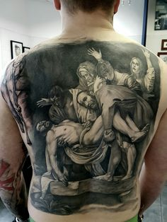 Caravaggio tattoo backpiece entombment