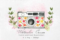 Watercolor Camera Illustration by Lizamperini on @creativemarket