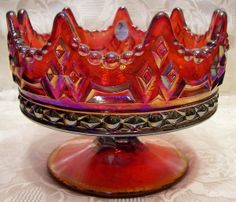 Fenton Red Carnival Glass Luxemberg Crown Bowl