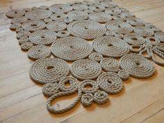 коврик ручной работы из джутов