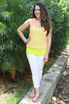 neon and white jeans for summer - BonBon Rose Girls