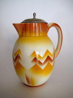 Spritzdekor Kanne Kakaokanne  Art Deco Bauhaus Ceramic Weimarer Republic  V&B