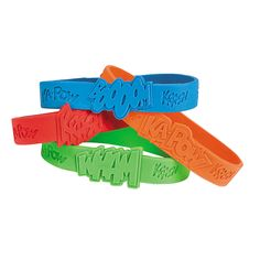 24 pc Superhero Sayings Bracelets. Make everyone feel like a superhero! Superhero Sayings Bracelets.