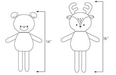 NEW Fall collection MINI PALS FALL collection soft doll/animal sewing pattern (includes instructions to make Fox, owl, bear, and deer) Mini Pals are super adorable and perfectly portable dolls to hug, hold and take everywhere with you You can use a variety of materials for these