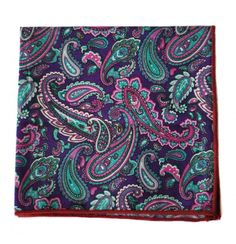 purple, pink and aqua paisley pocket square