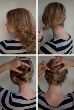 Pull your hair into a low pony  Twist down, then up into a pleat (like a French roll)  Tuck the end of your hair inside the pleat  Push hairstick through to secure the roll. I have used two crossed over as this holds better.