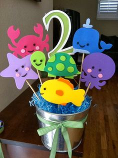 Under The Sea Theme Centerpiece by jollylollycreations on Etsy Under The Sea Theme, 3rd Birthday Parties, 2nd Birthday, Water Birthday Themes, Mermaid Birthday, Birthday Ideas, First Birthdays, Etsy, Baby Shark