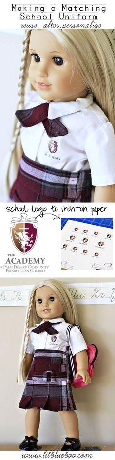 Making a matching american girl / doll school uniform via lilblueboo.com (logo the academy of palm desert presbyterian) #diy #tutorial #amer...