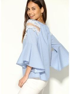 Blusa de escote barco elástico con guipur cuadros vichy