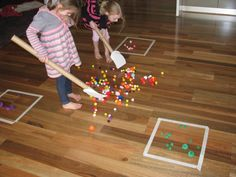 Pompom Hockey  - This game looks easy to create, and wonderful for practicing all sorts of skills!