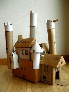 Castle Building With Recycled Cardboard - Things to Make and Do, Crafts and Activities for Kids - The Crafty Crow