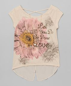 Loving this Natural 'Be Done in Love' Hi-Low Top & Necklace - Girls on #zulily! #zulilyfinds