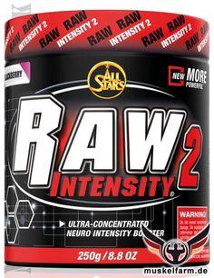 All Stars Raw Intensity 2 Pre-Workout Supplement mit Koffein-Komplex,  Beta-Alanin, Taurin, Tyrosin, DMAE, Pflanzenextrakten und Vitaminen.