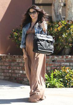 Pregnant Jenna Dewan in LA Wearing a Brown Maxi Dress
