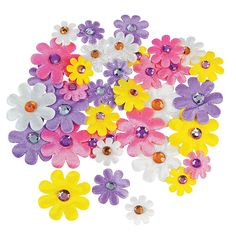 Self-Adhesive Daisies with Jewel Center - OrientalTrading.com