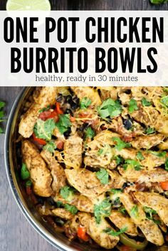 Chicken Burrito Bowls - Slender Kitchen. Works for Clean Eating, Gluten Free, Low Carb and Weight Watchers® diets. 469 Calories.