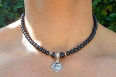 Black Onyx & Om Amulet Necklace of Strength by BenitoArvizo, $59.00