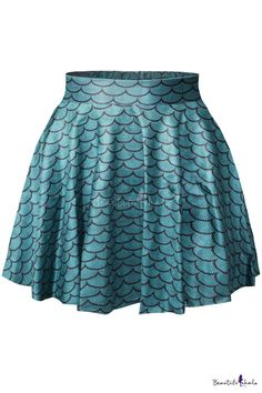 Cute Mini Flared Skirt with Mermaid Scales Pattern