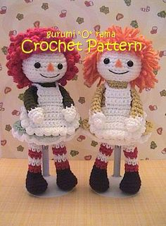 This would be so cute crocheted in rag strips ( rather than yarn).  - Crochet pattern amigurumi Doll ragdoll PDF guide by gurumiorama, $3.75