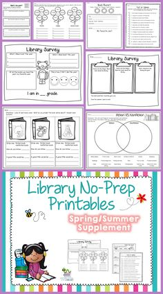 Library no-prep printables with a spring/summer theme.  Great way to review library skills at the end of the year.  Includes 2 student surveys.  $