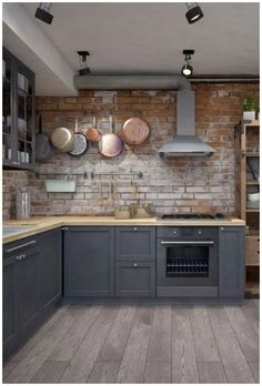 25 Cool Industrial Style Kitchen Ideas To Get Unique Look Home Decor Kitchen, New Kitchen, Home Kitchens, Kitchen Dining, Kitchen Ideas, Brick Wall Kitchen, Fake Brick Wall, Quirky Kitchen, Industrial Kitchen Design