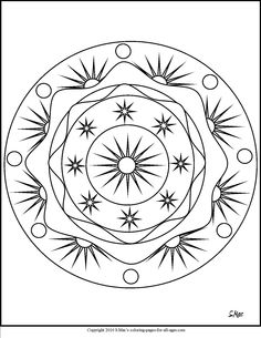 Hand drawn sun and new moon for anti stress colouring page