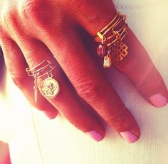 ALEX AND ANI expandable rings and a pink mani! #precious #providencecollection #crystalinfusion