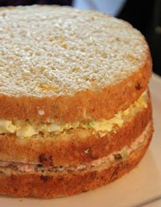 Wondering what to serve for a festive Holiday brunch? I had that same dilemma this week until I remembered the smorgastarta! Sandwhich Cake, Big Sandwich, Veggie Cakes, Nordic Recipe, I Want Food, Cold Sandwiches, Scandinavian Food, Salty Cake, Christmas Brunch