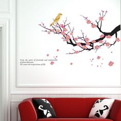 Wall Art Chinese Style Plum Blossom Flowers Modern Home Decal Wall Sticker Birds TV Wall Living Room Decoration Wall Decor Cheap Wall Decals, Wall Stickers Birds, Removable Wall Decals, Wall Stickers Home Decor, Vinyl Wall Decals, Living Room Murals, Wall Murals, Living Room Decor, Decor Room