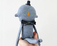 SALE Textile Soft Sculpture Denim Character OOAK by eviebarrow