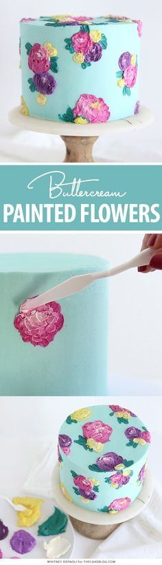 Painted Buttercream Flower Cake - - Painted Buttercream Flower Cake - how to paint buttercream flowers on a cake using a palette knife and frosting. Buttercream Flower Cake, Cupcake Frosting, Cupcake Cakes, Pretty Cakes, Beautiful Cakes, Amazing Cakes, Cake Decorating Tutorials, Cookie Decorating, Cake Blog