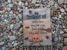 THE CROSSBONES INN wooden Halloween sign