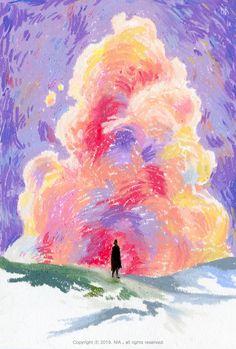 "illustrator NIA ""oil pastel on paper"" Oil Pastel Drawings Easy, Oil Pastel Paintings, Oil Pastel Art, Oil Pastels, Pastel Artwork, Horse Paintings, Crayon Drawings, Art Drawings, Oil Pastel Landscape"