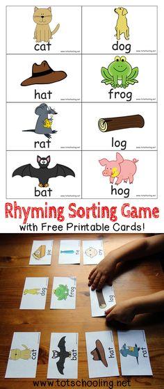 Rhyming Sorting Game with Free Printable