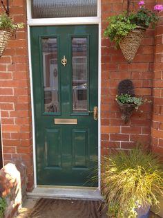 Green front door, victorian terrace house