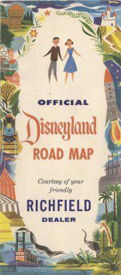 Vintage Disneyland Tickets: Richfield's Official Disneyland Road Map - 1955