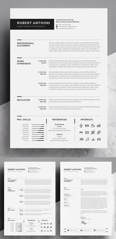 ★★★ Welcome to White Graphic ★★★ --- We create templates that help you make a lasting impression when applying for your dream career. Template Cv, Resume Design Template, Best Resume Template, Modern Cv Template, Resume Layout, One Page Resume, Resume Cv, Resume Ideas, Portfolio Web