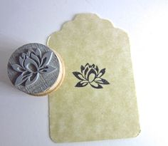 Lotus Small Rubber Stamp by etchythings on Etsy, $5.00