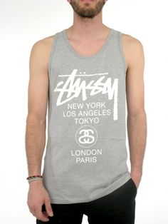 ee11e3cd0ee76 World Tour Tank Top for men by Stussy 90% Cotton 10% Polyester Model is