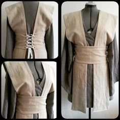 Made to order: Wrap dress in natural & grey linen: The Jedi robe. Inspired by the Star Wars costumes. Its a wrapdress with two sashes and a waist band that closes with a ribbon. You can adjust it to your size. The waistband can also be made to close with snaps.You can wear the robe/tunic with and without the sashes. Can be made in the sizes 4/12 and in the color of your choice. For size 14 and up please contact us about the price. Please feel free to contact us for more information about…