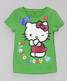 Take a look at this Classic Green 'Hello Kitty' Glitter Tee - Toddler & Girls by Hello Kitty on #zulily today!