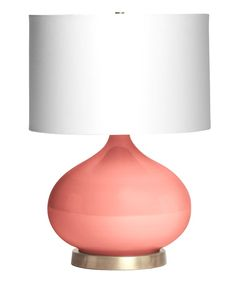 Candace Coral Table Lamp (glass, satin brass foot, modern white shade, matching finial, uses a single bulb) x Turquoise Glass, Light Turquoise, Turquoise Table, Turquoise Color, Glass Table, A Table, Coral Lamp, Coral Pink, Teal