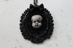 Baby Doll Head Cameo Necklace by DahliaDeranged on Etsy, $40.00