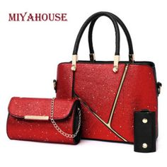 Red Three Piece Star Sequin Handbag Set for Women Valentines Gifts For Her, Girls Bags, Fashion Handbags, Women's Handbags, Jewelry Making Supplies, Korean Fashion, Tote Bag, Elegant, My Style
