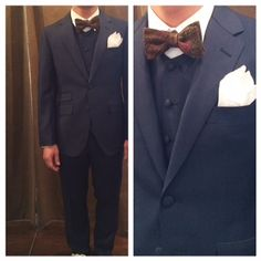 suit:ネイビー千鳥格子 shirt:白ラウンドカラー bowtie:ペイズリー  #新郎#カジュアルウエディング